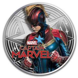 MARVEL 1 Oz stříbrná mince Captain Marvel 2019